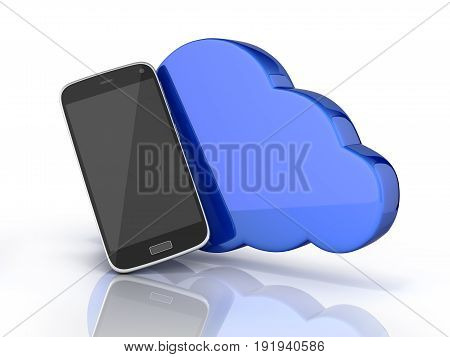 Concept Of Cloud Storage Smartphone With Cloud Storage App On White Background 3D