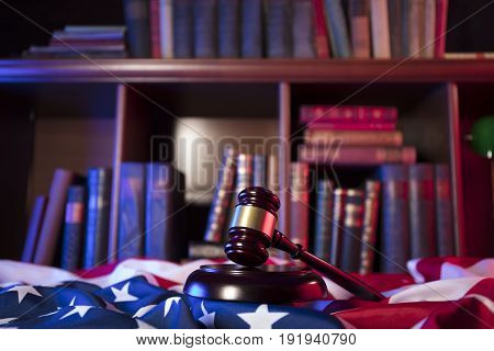 American eagle. Independence Day theme. 4th of July. American Declaration of Independence. Gavel, library, books, codes. American flag. Red and blue. Place for typography.