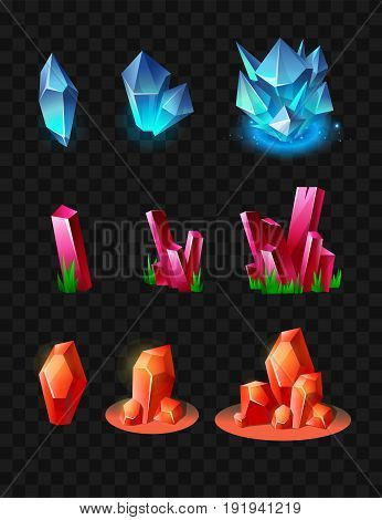 Crystals - realistic modern vector set of different minerals. Black background. Use this high quality clip art for presentations, banners and flyers. Blue, orange and crimson prizes, tokens, chips