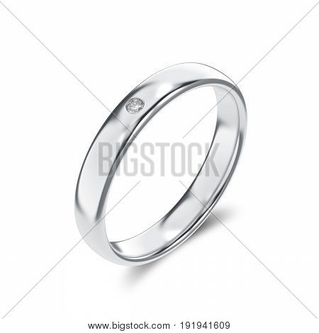 3D illustration isolated classic white gold or silver diamond ring with a shadow on a white background