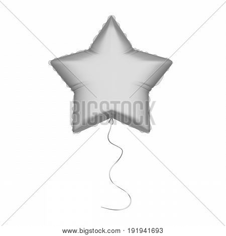 3D illustration isolated silver air balloon In the form of a star with thread on a white background