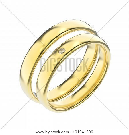 3D illustration two classic yellow gold rings with diamond and a shadow on a white background