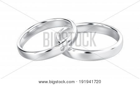 3D illustration classic white gold or silver rings with diamond on a white background