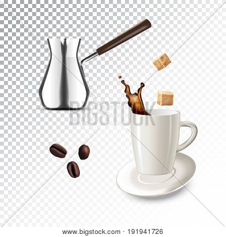 Vector realistic illustration of coffee maker and mug. Colorful objects on a transparent background.
