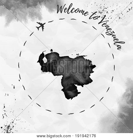 Venezuela Watercolor Map In Black Colors. Welcome To Venezuela Poster With Airplane Trace And Handpa