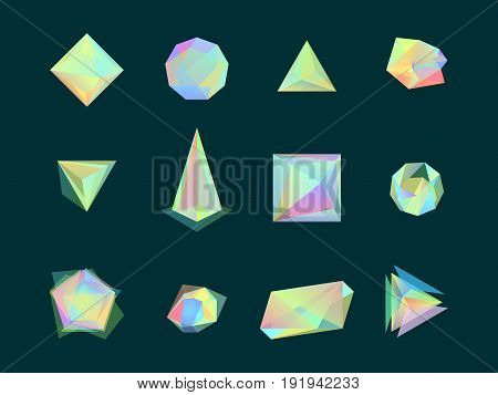Polygonal Color Glass Transparent Shapes Set Trendy Futuristic Decorative Symbol for Design. Vector illustration