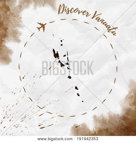 Vanuatu Watercolor Map In Sepia Colors. Discover Vanuatu Poster With Airplane Trace And Handpainted