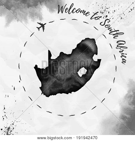 South Africa Watercolor Map In Black Colors. Welcome To South Africa Poster With Airplane Trace And