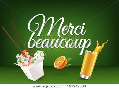 Merci beaucoup paper hand lettering calligraphy. Vector illustration with food, drink objects and text.