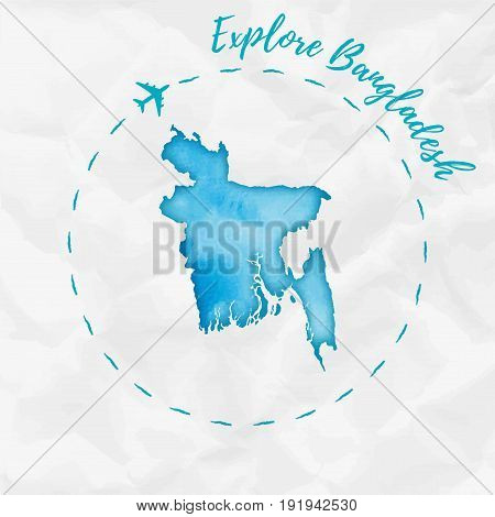 Bangladesh Watercolor Map In Turquoise Colors. Explore Bangladesh Poster With Airplane Trace And Han