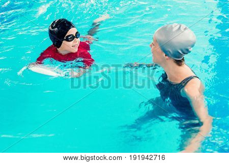 Swimming Class For Children, Toned Image, High Angle View