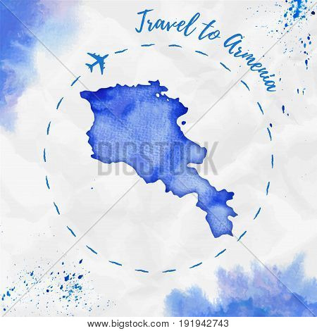 Armenia Watercolor Map In Blue Colors. Travel To Armenia Poster With Airplane Trace And Handpainted