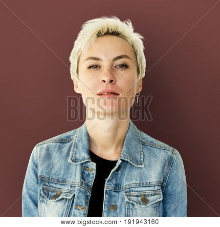 Caucasian Blonde Woman Staring to a Camera