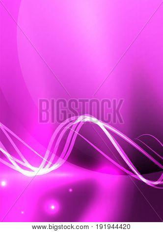 Glowing purple shiny wave background, energy concept illustration