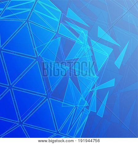 Vector abstract background going from triangles octahedron to creative high-tech design