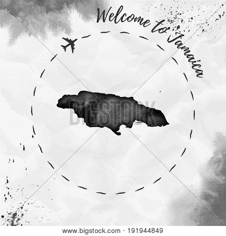 Jamaica Watercolor Map In Black Colors. Welcome To Jamaica Poster With Airplane Trace And Handpainte
