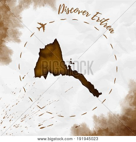 Eritrea Watercolor Map In Sepia Colors. Discover Eritrea Poster With Airplane Trace And Handpainted