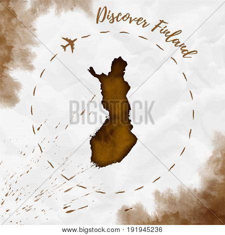 Finland Watercolor Map In Sepia Colors. Discover Finland Poster With Airplane Trace And Handpainted