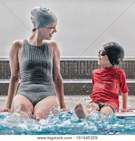 Having Fun In Swimming Lessons, Toned Image