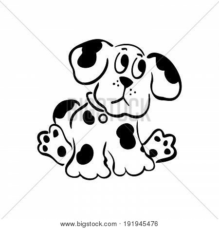 cartoon dog illustrations. outlined cartoon handrawn sketch illustration vector.