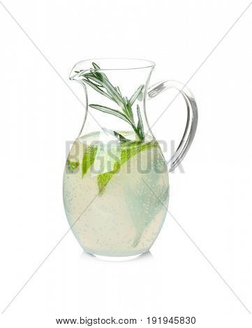 Tasty refreshing lemonade with lime and rosemary in glass jug on white background