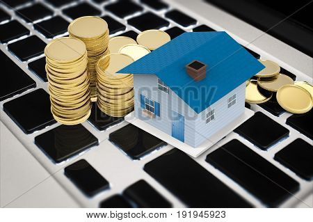 online business concept with 3d rendering mock up house and stack of coins