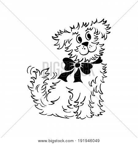 cartoon dog Illustration. outlined cartoon handrawn sketch illustration vector.