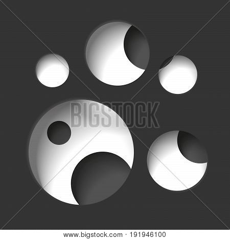 Round holes in the black surface, multilevel abstraction, vector minimal background