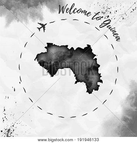 Guinea Watercolor Map In Black Colors. Welcome To Guinea Poster With Airplane Trace And Handpainted