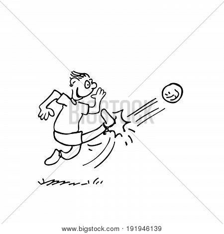 men kicking a ball. outlined cartoon handrawn sketch illustration vector.