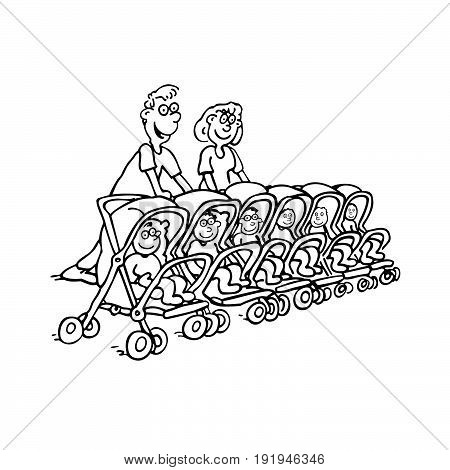 parenting family concept. parent with baby. outlined cartoon handrawn sketch illustration vector.