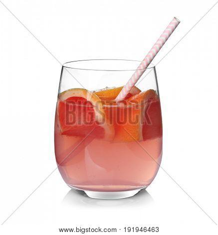 Tasty refreshing lemonade with grapefruit in glass on white background