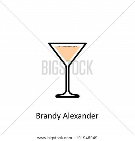 Brandy Alexander cocktail icon in flat style. Vector illustration