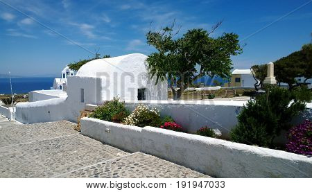 The deserted streets of Oia on Santorini island in spring day