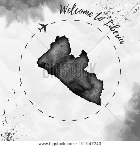 Liberia Watercolor Map In Black Colors. Welcome To Liberia Poster With Airplane Trace And Handpainte