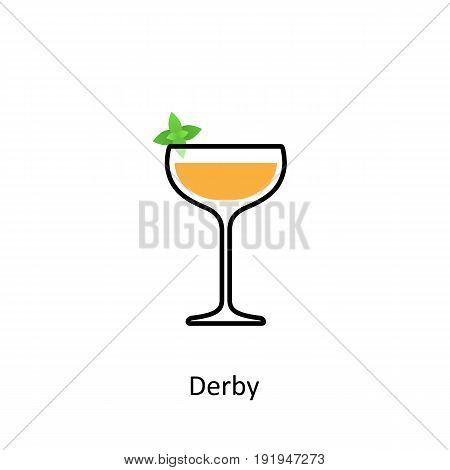 Derby cocktail icon in flat style. Vector illustration