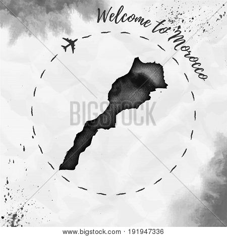 Morocco Watercolor Map In Black Colors. Welcome To Morocco Poster With Airplane Trace And Handpainte