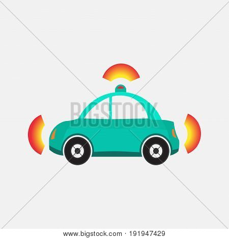 car alarm icon side view options signals flat design image