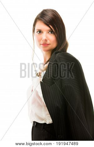 Young business woman portrait. Isolated on white