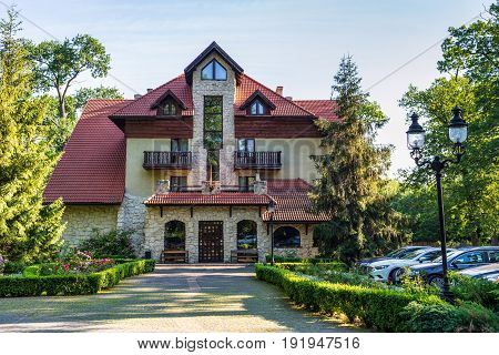 Lviv Ukraine - June 15 2017: Park-hotel Ancient town (Drevny Grad) is located in the woods on the outskirts of Lviv city Ukraine.