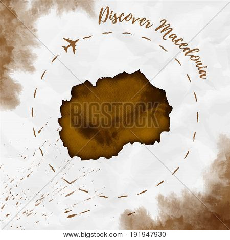 Macedonia Watercolor Map In Sepia Colors. Discover Macedonia Poster With Airplane Trace And Handpain