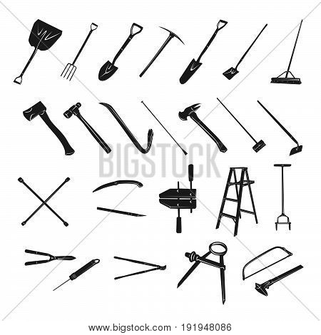 Gardening tools collection - silhouette . Vector Illustration design