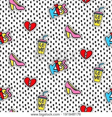 Seamless pattern with Fashionable patches. Comic stickers, pins, patches doodle in cartoon pop art 80s-90s style. Vector illustration