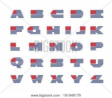 america alphabet. USA font.  Vector Illustration design
