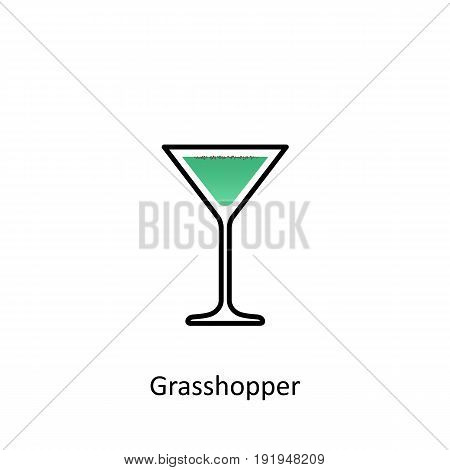 Grasshopper cocktail icon in flat style. Vector illustration