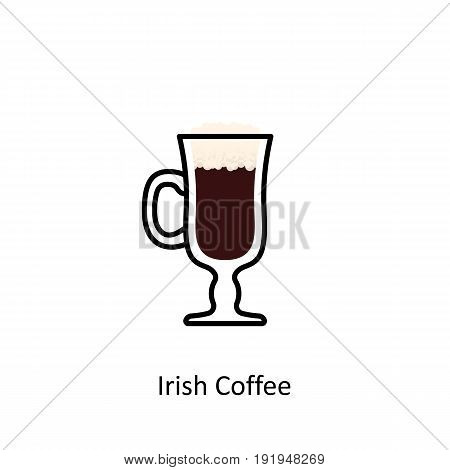 Irish Coffee cocktail icon in flat style. Vector illustration