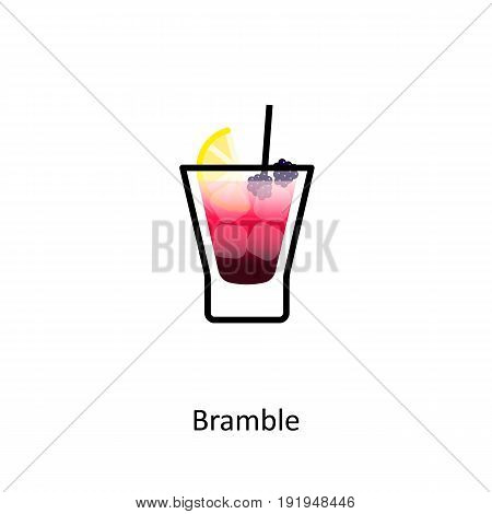 Bramble cocktail icon in flat style. Vector illustration