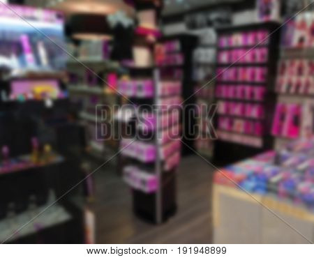 Blurred view of sex shop interior