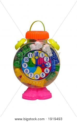 Big toy clock made from motley plastik isolated on white poster