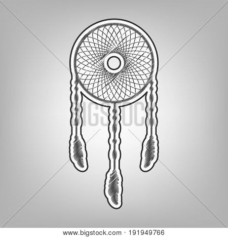 Dream catcher sign. Vector. Pencil sketch imitation. Dark gray scribble icon with dark gray outer contour at gray background.